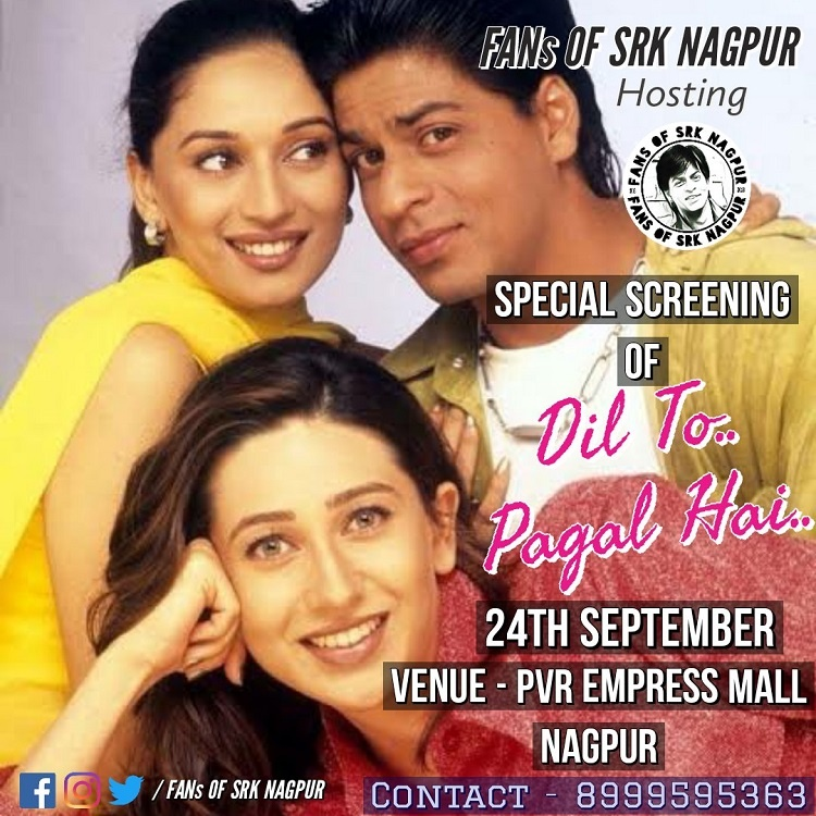 Photo of SRK Nagpur Fan Club to Hold Dil To Pagal Hai Special Screening on 24th Sept