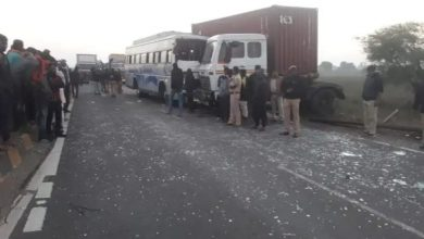 Photo of Accident of Pvt Bus with Container Truck in Nagpur led 4 Deaths
