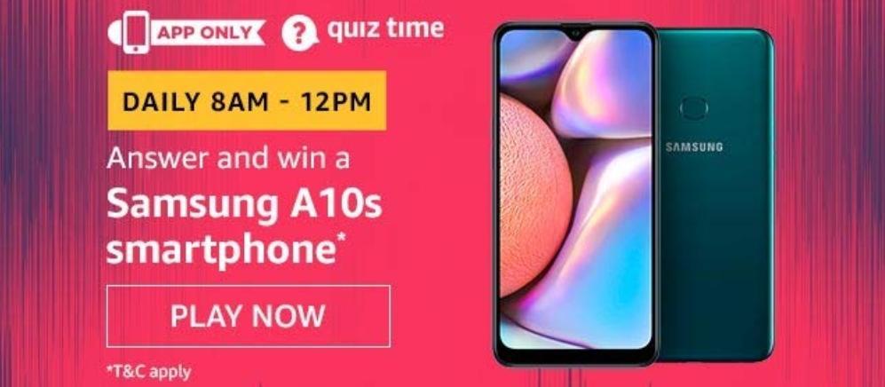 Samsung A10s Amazon Quiz Answer