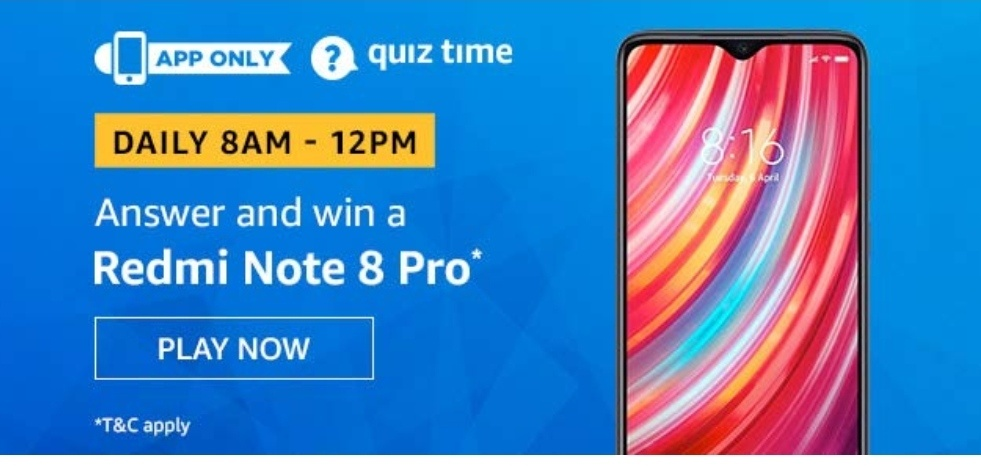 Redmi Note 8 Pro Amazon Quiz