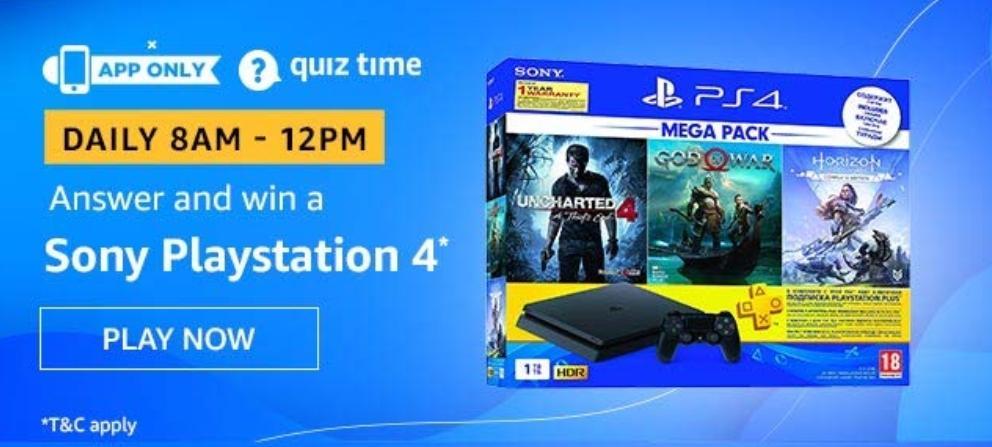 Sony PlayStation 4 Amazon Quiz Answer