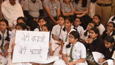 Photo of Gandhigiri by school girls!
