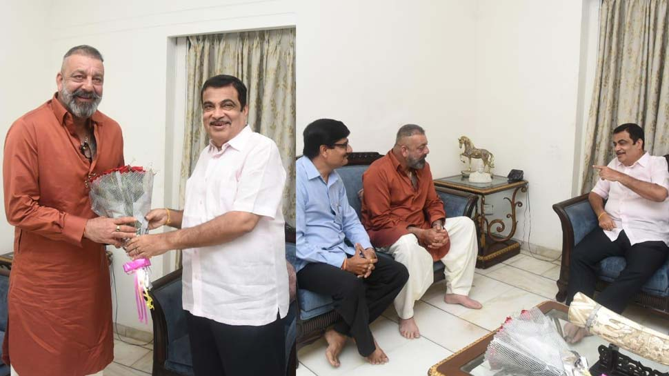 Photo of Sanjay Dutt in City, meets union minister Mr. Nitin Gadkari